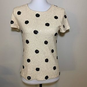 J. Crew sequined polka dot top cream and black